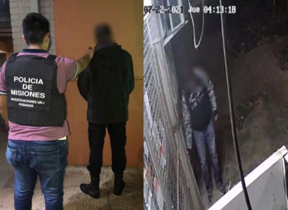 Fue filmado forzando la reja y rompiendo el vidrio de un comercio para robar: fue detenido en Posadas