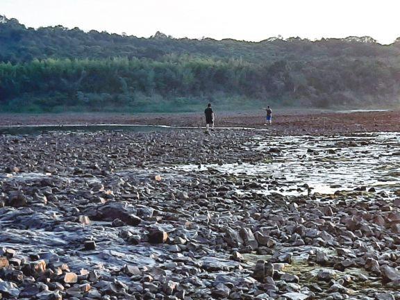 Por la bajante, se puede llegar caminando en zonas cercanas a la isla Caraguatay