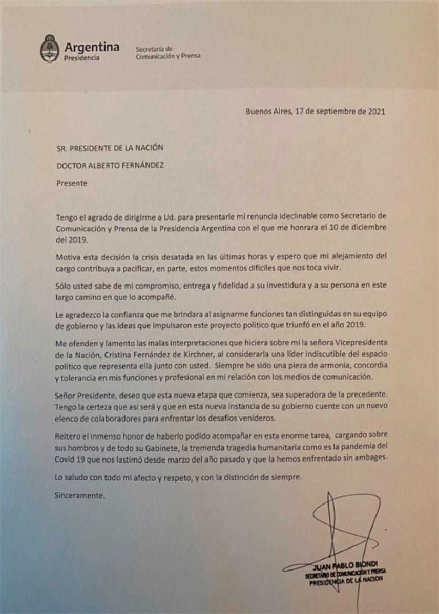 Renunció el vocero presidencial Juan Pablo Biondi