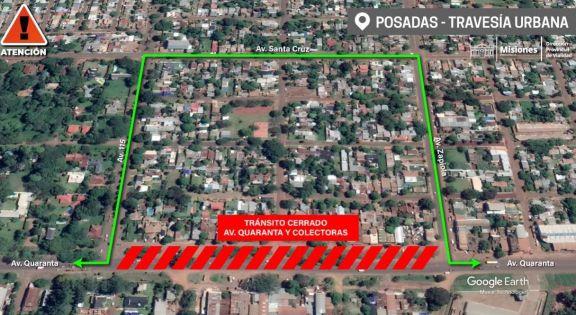 Travesía Urbana en Posadas: jueves y viernes habrá corte total de tránsito en Quaranta entre Zapiola y 115
