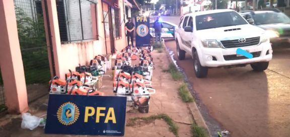 Federales incautaron 20 motosierras y 13 motoguadañas en Iguazú