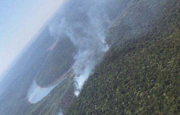 Con avión hidrante sofocan el fuego en  el Yabotí y piden otro para la zona Sur