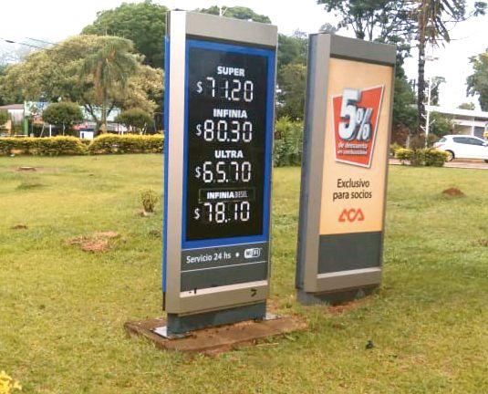 El litro de nafta súper pasó los $70 en localidades misioneras
