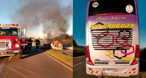 Zárate: fallecidos en accidente sobre ruta 12 entre automóvil y micro de larga distancia que partió de Posadas