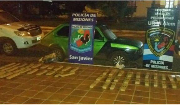 San Javier: incautan un auto con más de 155 kilos de marihuana y hay un detenido