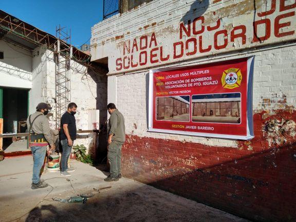 Bomberos voluntarios iniciaron las obras de tres locales que alquilarán para obtener fondos