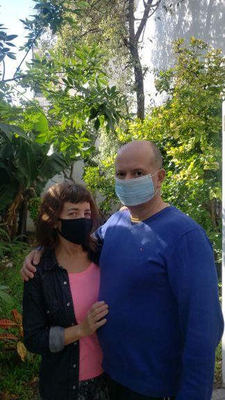 Daniela junto a Marcelo, su marido.