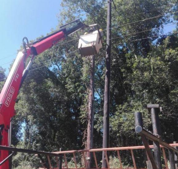 Se realizaron reparaciones en el tendido eléctrico y postes en Montecarlo