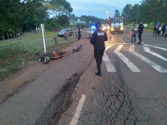 San Javier: dos heridos en un choque entre el conductor de una moto y un ciclista