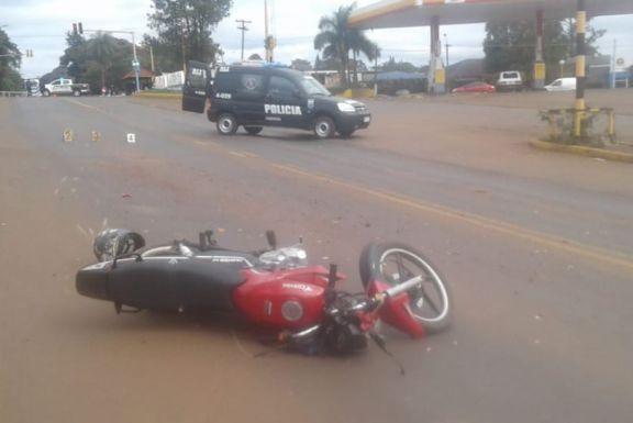 Accidente en Jardín América dejó un motociclista herido